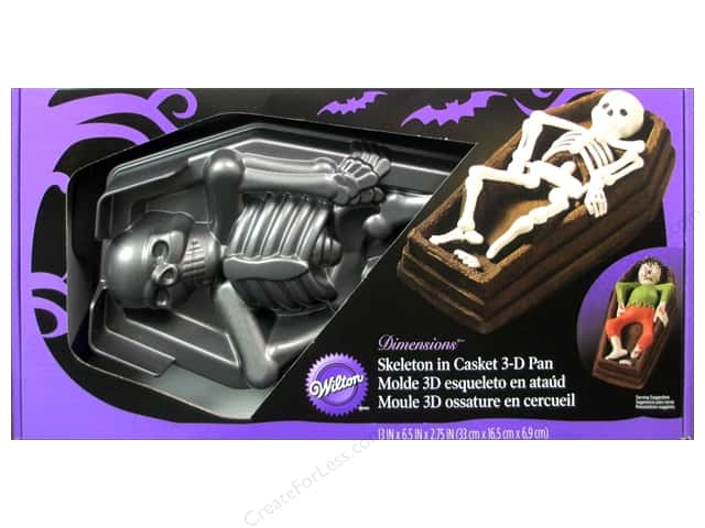 Wilton Bakeware Pan Cake 3D Skeleton In Casket Easy Release