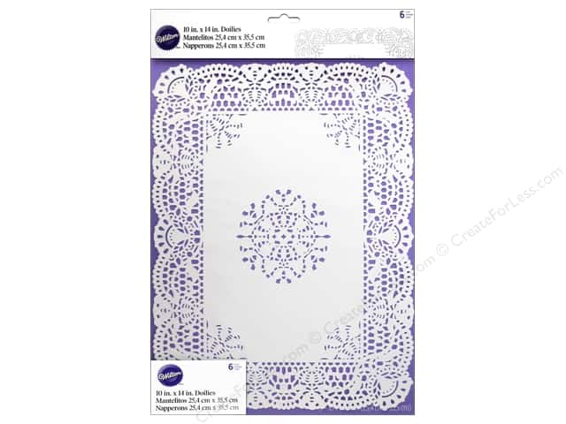 "Wilton Decorations Doilies 10""x 14"" Rectangle Greaseproof White 6pc"