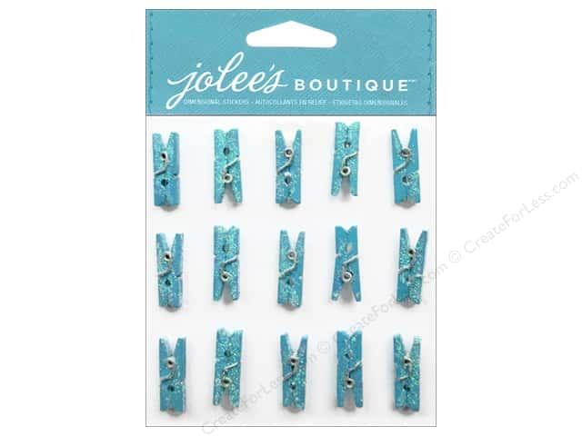 Jolee's Boutique Embellishments Glitter Clothespins Blue