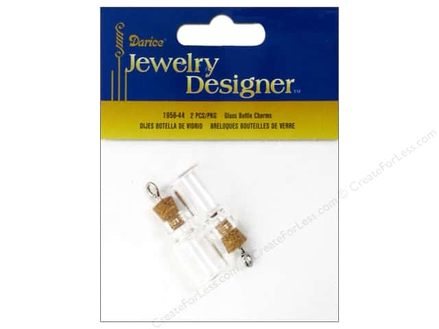 Darice Jewelry Designer Charms 22mm Glass Bottle Cork Stopper 2pc