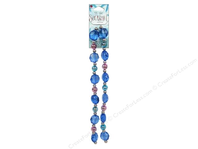 Cousin Tis The Season Christmas 2013 Bead Strand Acrylic Blue/Pink 46pc