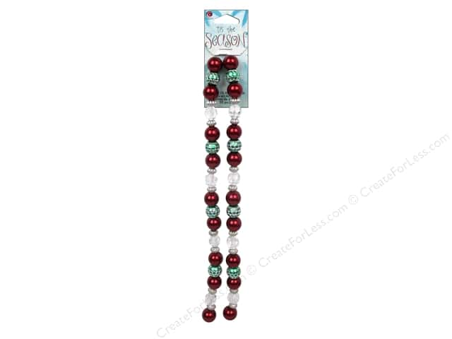 Cousin Tis The Season Christmas 2013 Bead Strand Acrylic/Pearl Red/Green 50pc