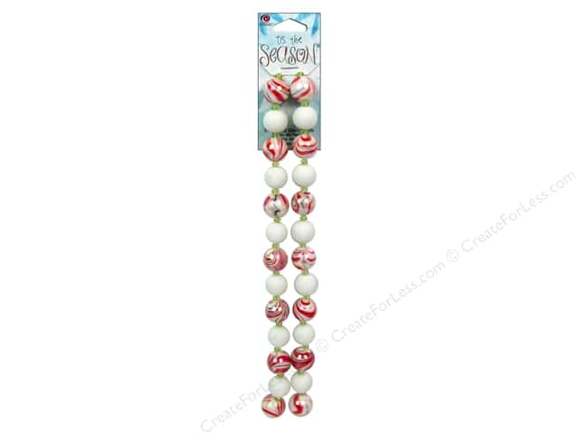 Cousin Bead Tis The Season Strand Glass Red Swirl/White 54pc