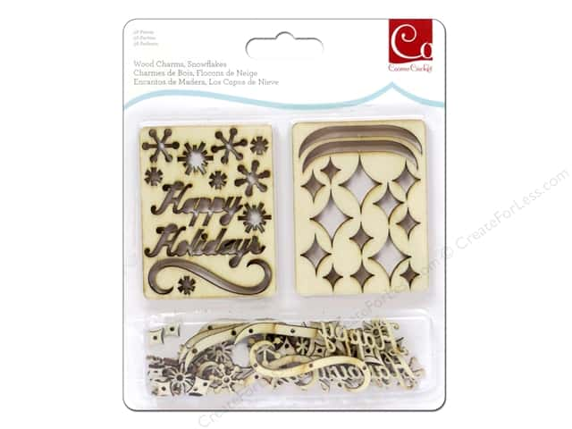 Cosmo Cricket Embellishment Wood Charm Snowflakes