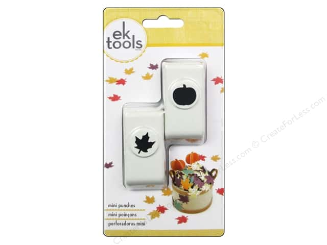 EK Paper Shapers Mini Punch Set Pumpkin And Fall Leaf 2 pc.