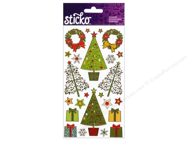 EK Sticko Stickers Decorative Christmas Trees