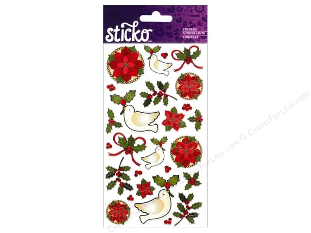 EK Sticko Stickers Poinsettias And Holly