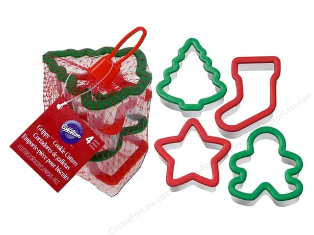 Wilton Cookie Cutter Set Grippy Holiday 4pc
