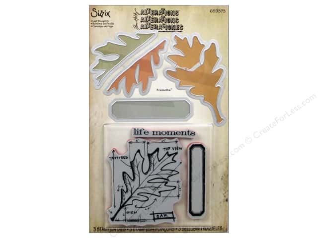 Sizzix Framelits Die Set 4 PK with Stamps Leaf Blueprint by Tim Holtz