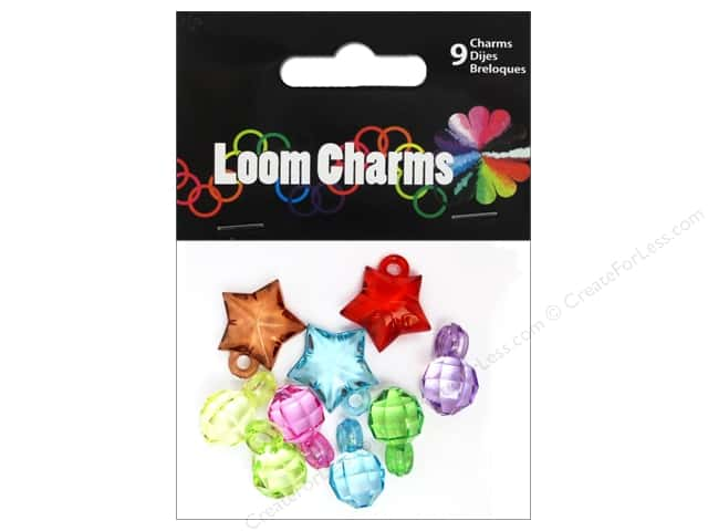 Midwest Design Loom Band Charm Acrylic Assorted 9pc