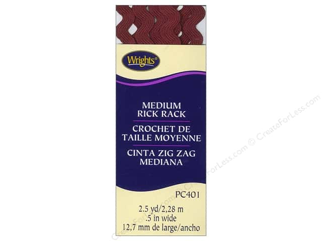Wrights Rick Rack Medium 2 1/2 yd. Ox Blood