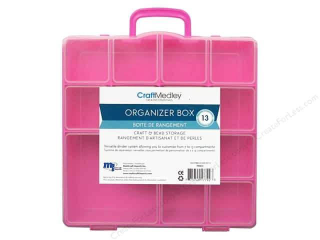 "Multicraft Organizer Box 13 Compartment With Lid 8""x 8.5""x 2"""