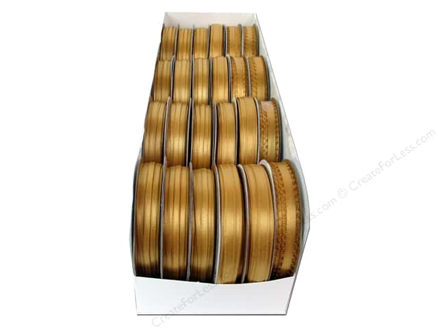 Offray Spool-O-Ribbon Double Face Satin Assortment Old Gold (24 spools)