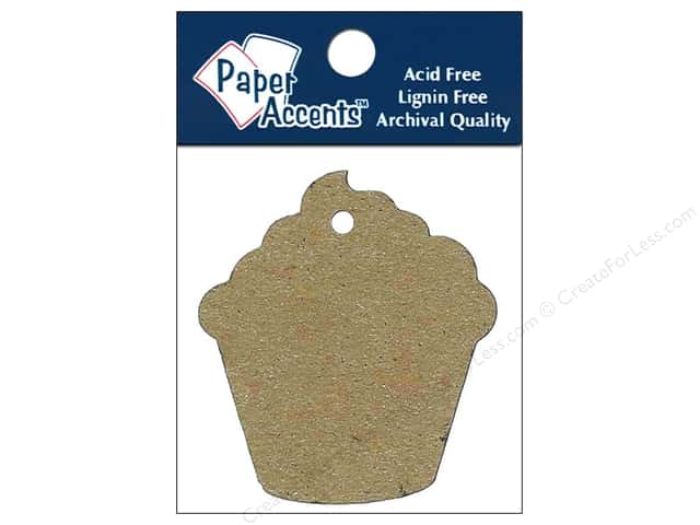 Paper Accents Chipboard Shape Cupcake Tag 12 pc. Kraft