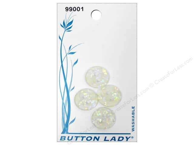JHB Button Lady Buttons 1/2 in. Iridescent White #99001 4 pc.