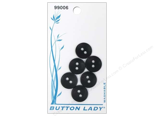 JHB Button Lady Buttons 1/2 in. Black #99006 6 pc.