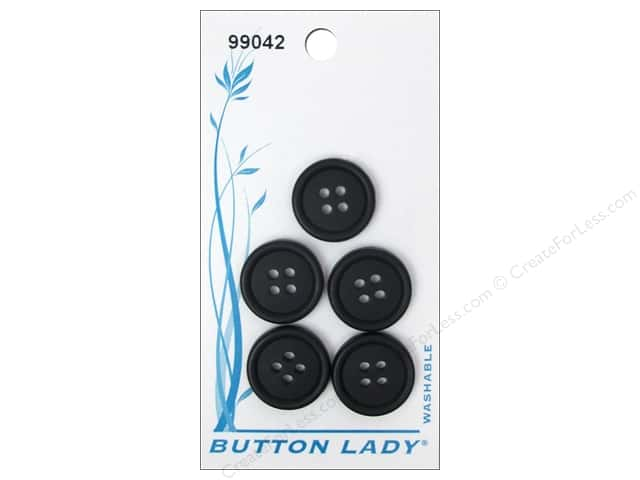 JHB Button Lady Buttons 5/8 in. Black #99042 5 pc.