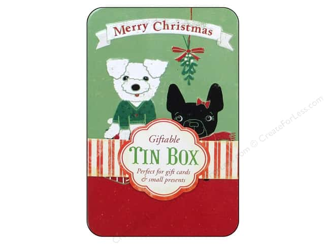 Punch Studio Gift Card Holder Mistletoe Puppies Tin