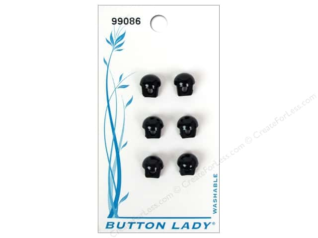 JHB Button Lady Buttons 1/4 in. Black #99086 6 pc.