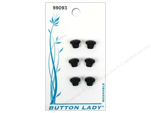 JHB Button Lady Buttons 1/4 in. Black #99093 6 pc.