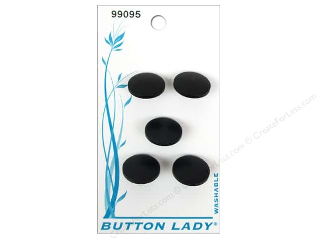 JHB Button Lady Buttons 1/2 in. Black #99095 5 pc.