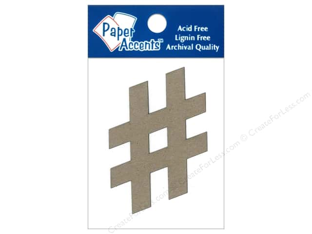 Paper Accents Chipboard Shape Hashtag # 8 pc. Kraft