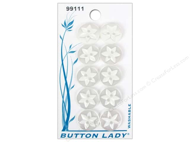JHB Button Lady Buttons 1/2 in. White #99111 10 pc.