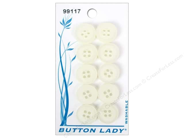 JHB Button Lady Buttons 1/2 in. White Pearl #99117 10 pc.