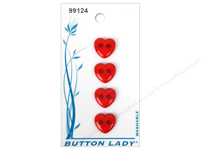 JHB Button Lady Buttons 1/2 in. Red Heart #99124 4 pc.