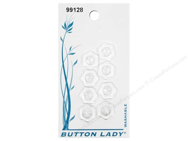 JHB Button Lady Buttons 1/2 in. Clear #99128 8 pc.