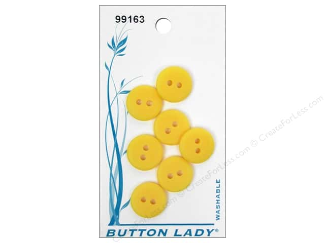 JHB Button Lady Buttons 1/2 in. Yellow #99163 7 pc.