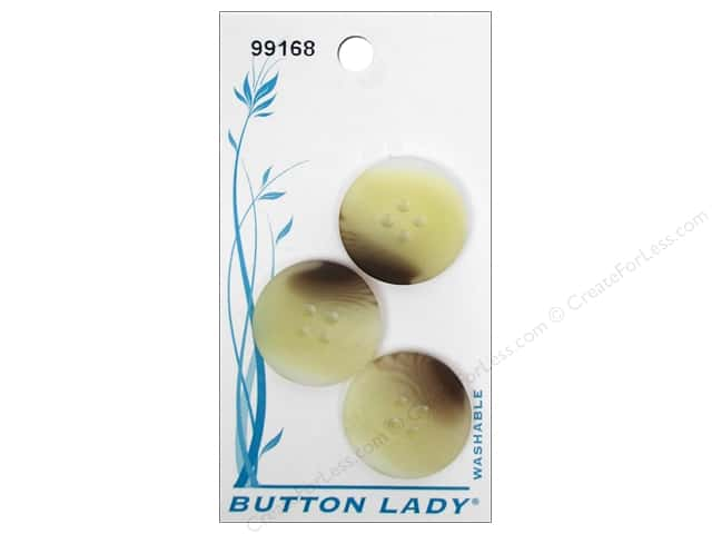 JHB Button Lady Buttons 3/4 in. Beige & Brown #99168 3 pc.
