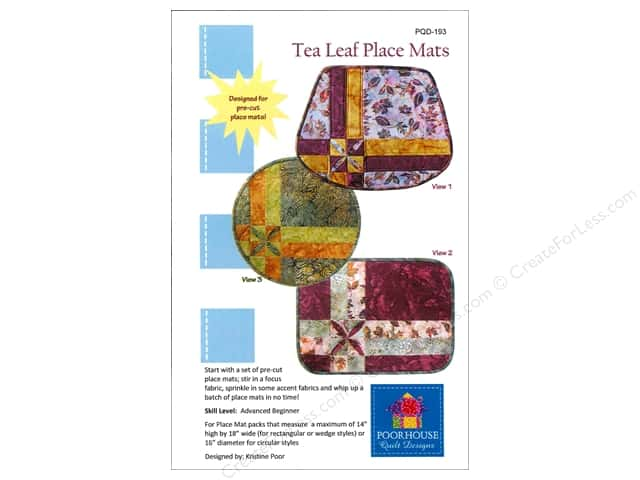 Poorhouse Quilt Design Tea Leaf Place Mats Pattern