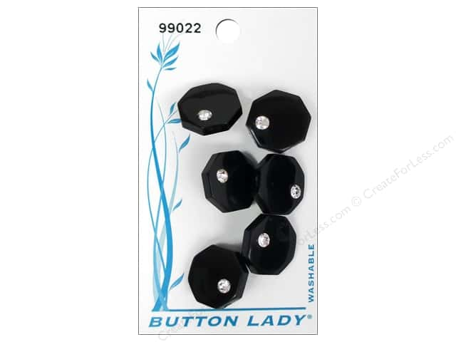 JHB Button Lady Buttons 5/8 in. Black #99022 6 pc.