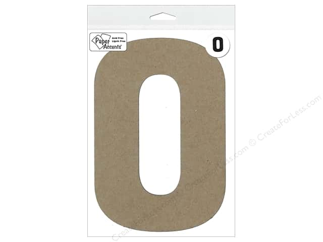 "Paper Accents Chipboard Shape Number ""0"" 8 in. 1 pc. Kraft"