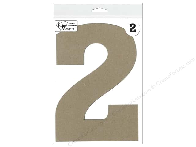 "Paper Accents Chipboard Shape Number ""2"" 8 in. 1 pc. Kraft"