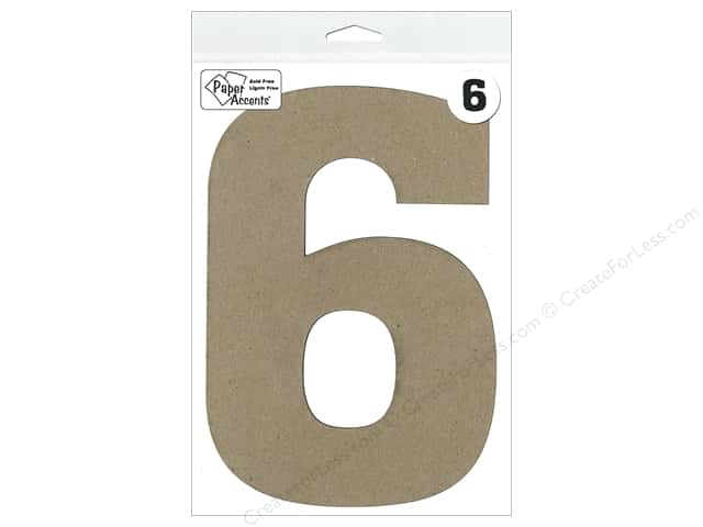 "Paper Accents Chipboard Shape Number ""6"" 8 in. 1 pc. Kraft"