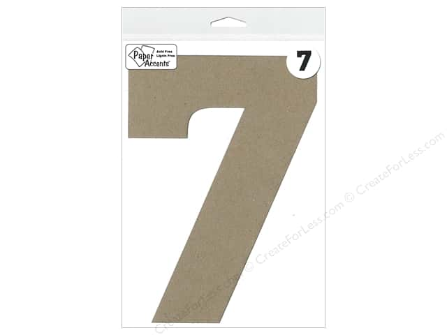 "Paper Accents Chipboard Shape Number ""7"" 8 in. 1 pc. Kraft"