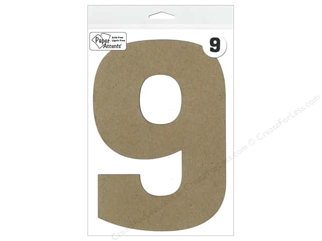 "Paper Accents Chipboard Shape Number ""9"" 8 in. 1 pc. Kraft"