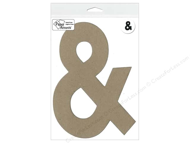 "Paper Accents Chipboard Shape Punctuation ""&"" 8 in. 1 pc. Kraft"
