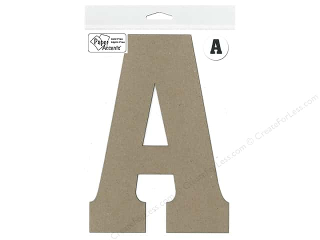 "Paper Accents Chipboard Shape Letter ""A"" 8 in. 1pc. Kraft"