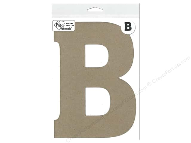 "Paper Accents Chipboard Shape Letter ""B"" 8 in. 1 pc. Kraft"