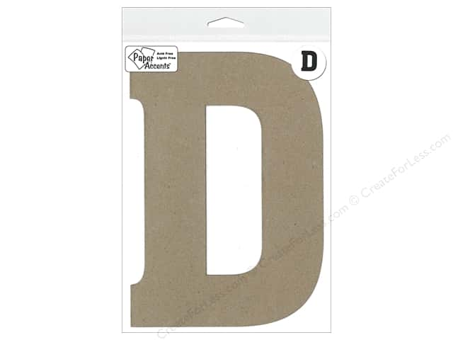 "Paper Accents Chipboard Shape Letter ""D"" 8 in. 1 pc. Kraft"