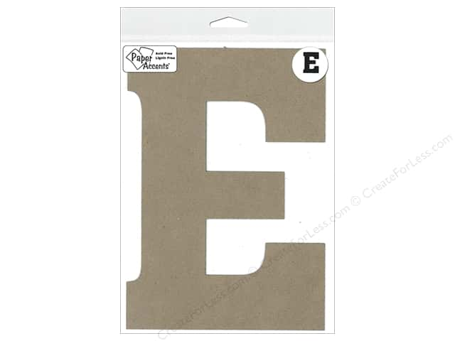 "Paper Accents Chipboard Shape Letter ""E"" 8 in. 1 pc. Kraft"