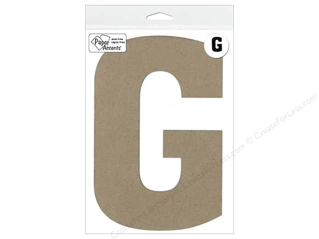 "Paper Accents Chipboard Shape Letter ""G"" 8 in. 1 pc. Kraft"