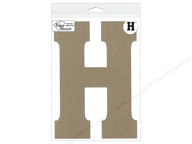 "Paper Accents Chipboard Shape Letter ""H"" 8 in. 1 pc. Kraft"