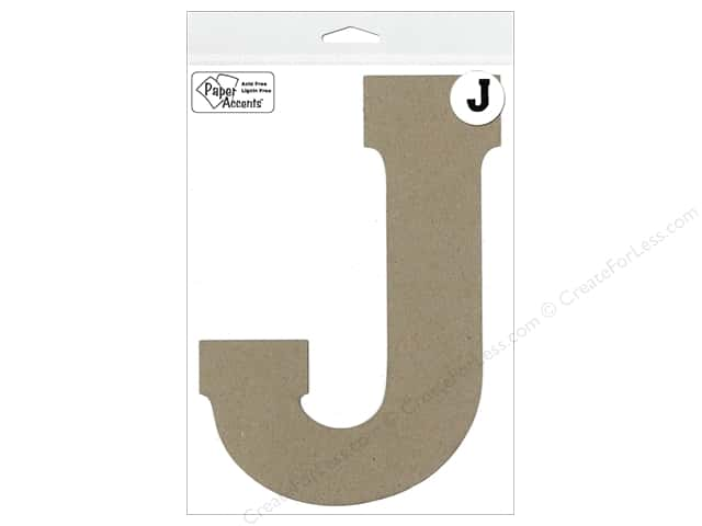 "Paper Accents Chipboard Shape Letter ""J"" 8 in. 1 pc. Kraft"