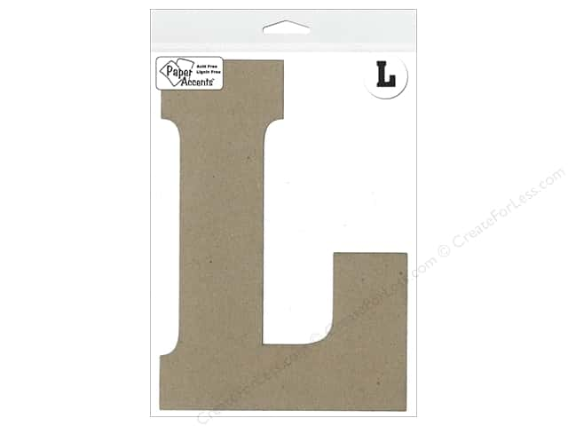 "Paper Accents Chipboard Shape Letter ""L"" 8 in. 1 pc. Kraft"