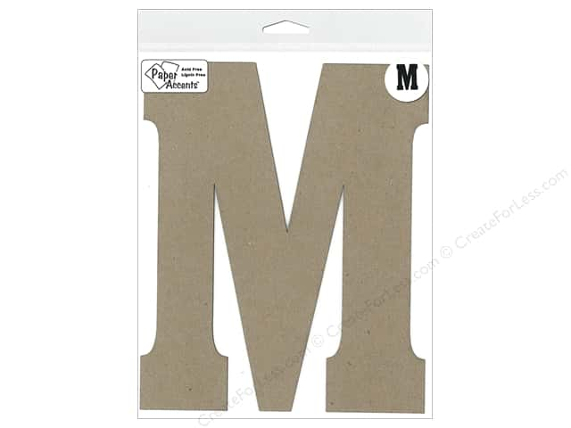 "Paper Accents Chipboard Shape Letter ""M"" 8 in. 1 pc. Kraft"