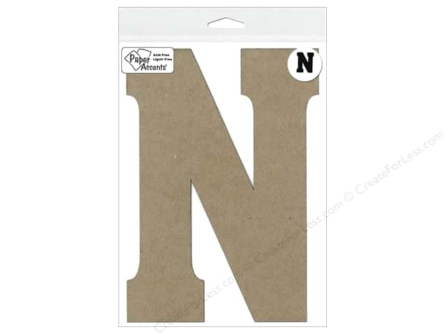 "Paper Accents Chipboard Shape Letter ""N"" 8 in. 1 pc. Kraft"